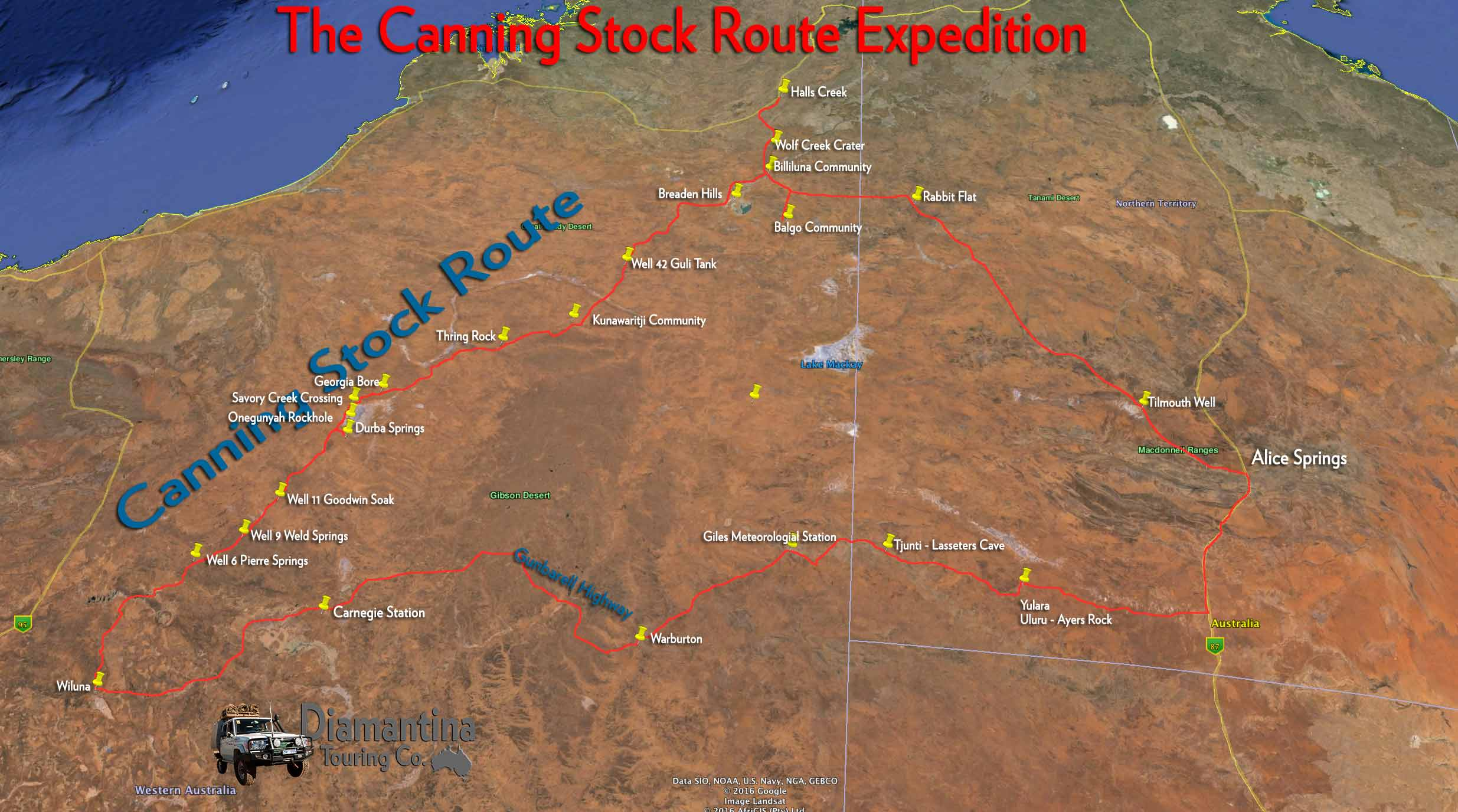 detailed map of canning stock route tours